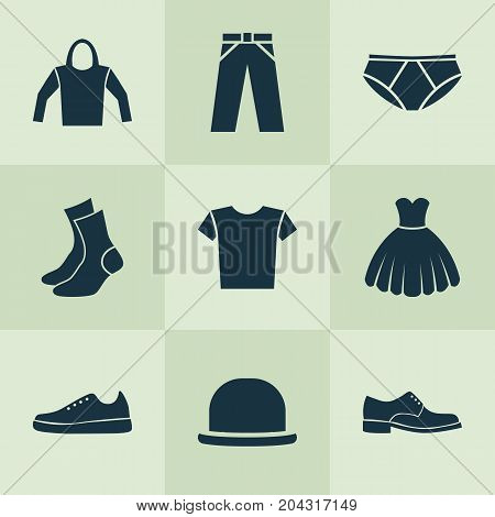 Garment Icons Set. Collection Of Half-Hose, Sarafan, Panama And Other Elements