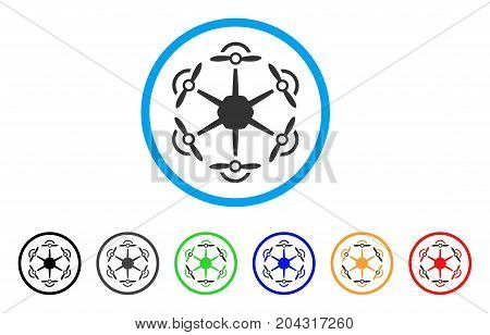 Flying Hexacopter icon. Vector illustration style is a flat iconic flying hexacopter gray rounded symbol inside light blue circle with black, gray, green, blue, red, orange color versions.