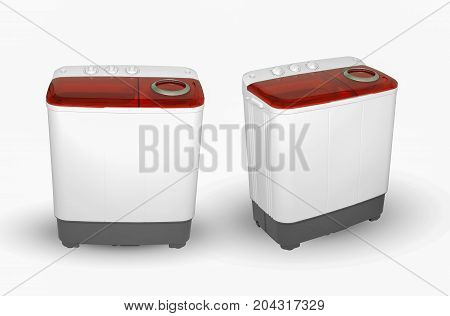 Washing Machine On A White Background