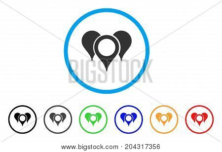 Map Markers icon. Vector illustration style is a flat iconic map markers grey rounded symbol inside light blue circle with black, gray, green, blue, red, orange color additional versions.