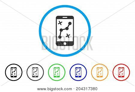 Mobile Route Map icon. Vector illustration style is a flat iconic mobile route map grey rounded symbol inside light blue circle with black, gray, green, blue, red, orange color additional versions.