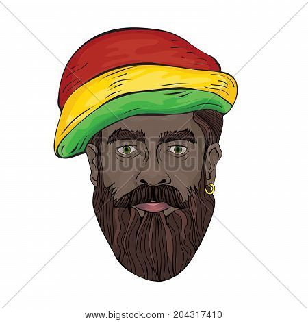 Portrait of rastaman. The black man's face in a Rastaman hat. Vector illustration, isolated on white background.