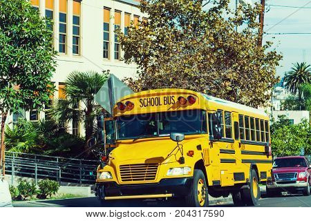 School bus parked by the school in Los Angeles California