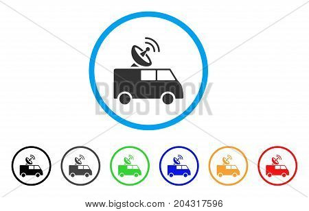 Radio Control Car icon. Vector illustration style is a flat iconic radio control car grey rounded symbol inside light blue circle with black, gray, green, blue, red, orange color versions.