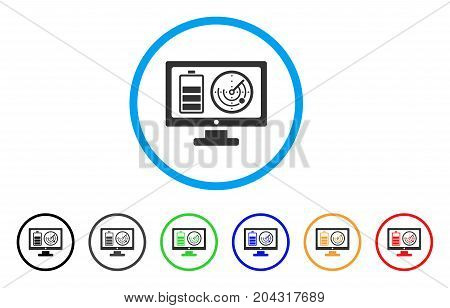 Remote Battery Monitoring icon. Vector illustration style is a flat iconic remote battery monitoring grey rounded symbol inside light blue circle with black, gray, green, blue, red,