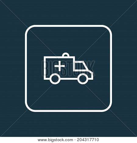 Premium Quality Isolated Car  Element In Trendy Style.  Ambulance Outline Symbol.