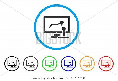 Remote Monitoring icon. Vector illustration style is a flat iconic remote monitoring grey rounded symbol inside light blue circle with black, gray, green, blue, red, orange color versions.