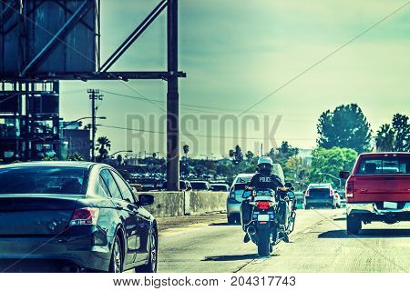 Police officer on motorcycle in Los Angeles California