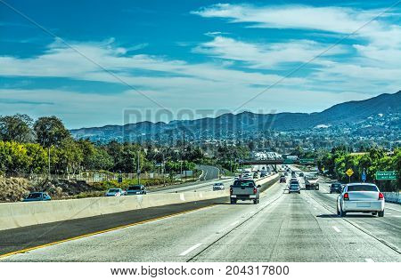 Traffic in 101 freeway southbound. Los Angeles California