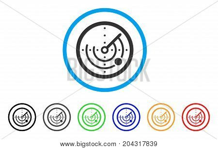 Round Radar icon. Vector illustration style is a flat iconic round radar gray rounded symbol inside light blue circle with black, gray, green, blue, red, orange color variants.