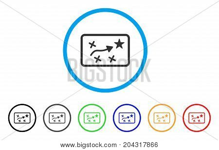 Route Map icon. Vector illustration style is a flat iconic route map grey rounded symbol inside light blue circle with black, gray, green, blue, red, orange color variants.