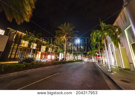 Rodeo Drive at night. Beverly Hills California