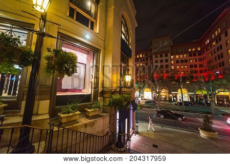 Detail of Beverly Hills at night. California USA