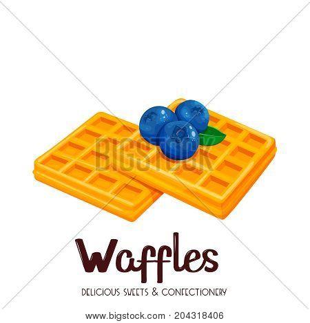 Belgian waffles icon. Illustration waffles for menu confectionery