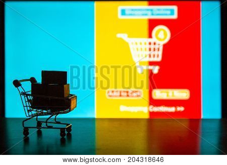 Silhouette shopping background Cartons in shopping cart with ad order shopping sceen background shopping online concept Business abount internet of thing background.