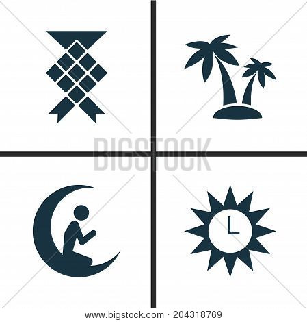 Holiday Icons Set. Collection Of Man With Moon, Clock, Malay And Other Elements