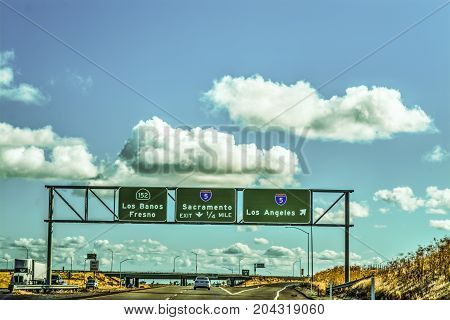Road signs in Interstate 5 southbound. California USA