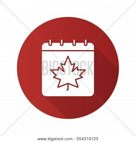Autumn calendar flat design long shadow glyph icon. Calendar page with maple leaf. Vector silhouette illustration