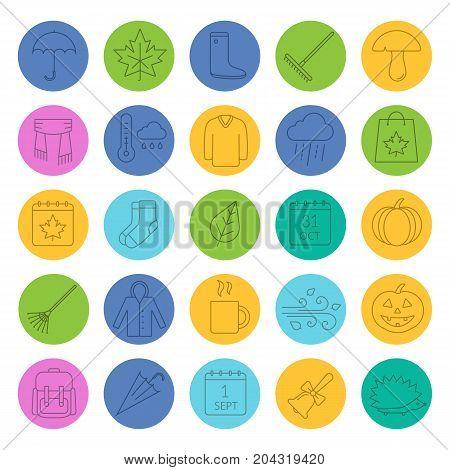 Autumn linear icons set. Warm clothes, autumn sale, leaves, umbrella, calendar, rake, sale, rainy weather. Thin line outline symbols on color circles. Vector illustrations