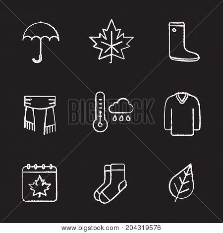 Autumn chalk icons set. Umbrella, warm socks, maple leaf, watertight, scarf, sweater, autumn weather and calendar. Isolated vector chalkboard illustrations