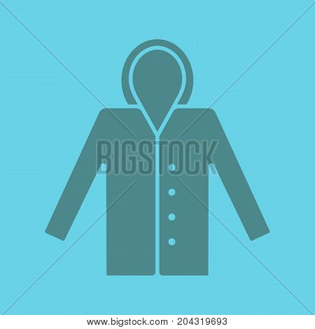Raincoat glyph color icon. Silhouette symbol. Waterproof coat. Negative space. Vector isolated illustration