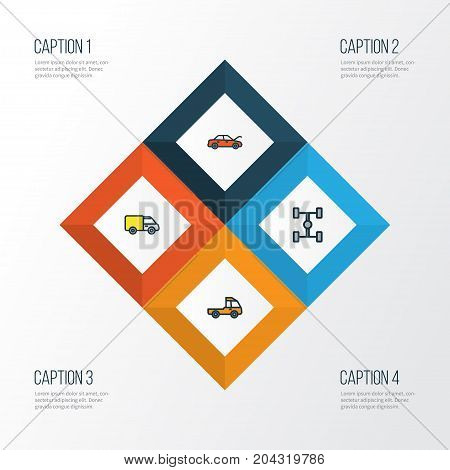 Auto Colorful Outline Icons Set. Collection Of Bonnet, Truck, Pickup And Other Elements