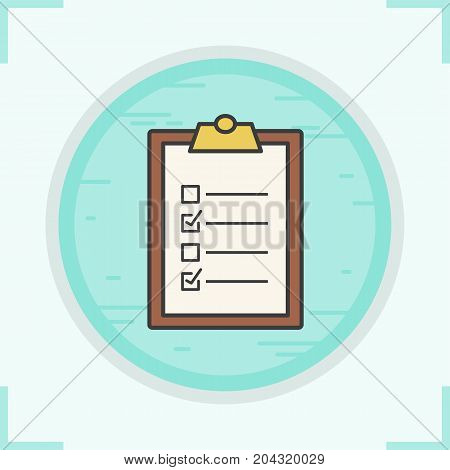 Clipboard checklist color icon. To do list. Isolated vector illustration