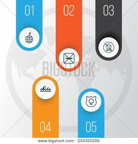 Eco-Friendly Icons Set. Collection Of Fire Banned, Ocean Wave, Cigarette And Other Elements
