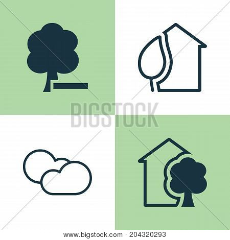 Ecology Icons Set. Collection Of Home, Cloud Cumulus, Delete Woods And Other Elements