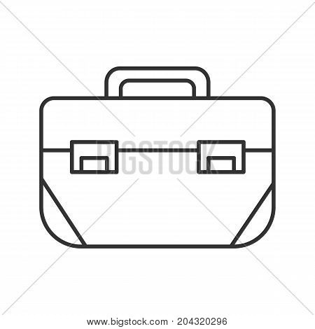 Tool box linear icon. Thin line illustration. Construction toolkit. Contour symbol. Vector isolated outline drawing