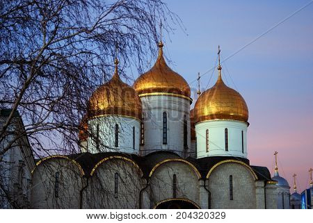 Dormition church of Moscow Kremlin. UNESCO World Heritage Site. Color photo.
