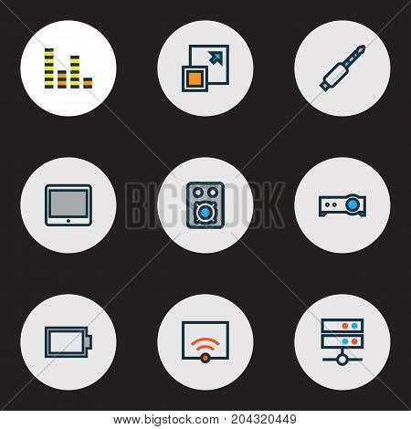 Media Colorful Outline Icons Set. Collection Of Signal, Equalizer, Audio And Other Elements