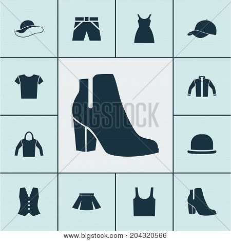 Garment Icons Set. Collection Of Sweatshirt, Dress, Trunks Cloth And Other Elements