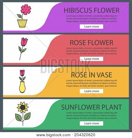 Flowers web banner templates set. Roses, hibiscus in flowerpot, sunflower. Website color menu items. Vector headers design concepts