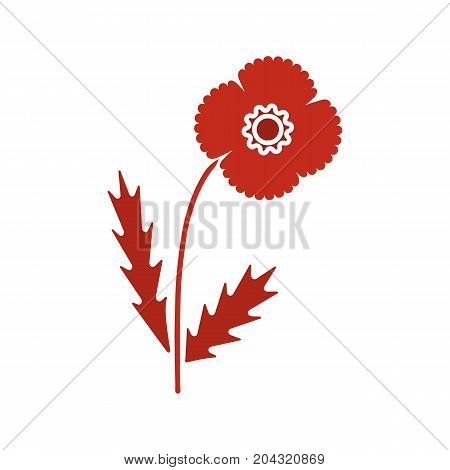 Poppy flower glyph color icon. Silhouette symbol on white background. Negative space. Vector illustration