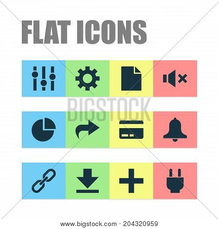 User Icons Set. Collection Of Pie Chart, Chain, Socket And Other Elements