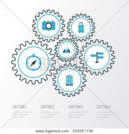 Traveling Colorful Icons Set. Collection Of Mountains, Photo Device, Compass And Other Elements