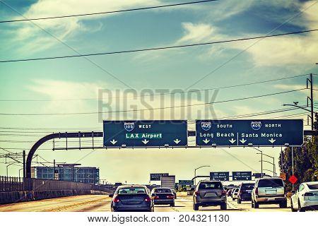 Traffic on 105 freeway westbound. Los Angeles California