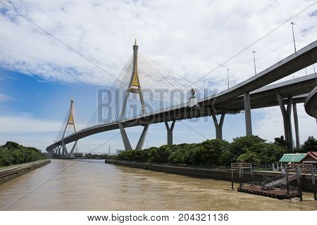 View Landscape And Cityscape Of Amphoe Phra Pradaeng At Bhumibol Bridge With Chao Phraya River