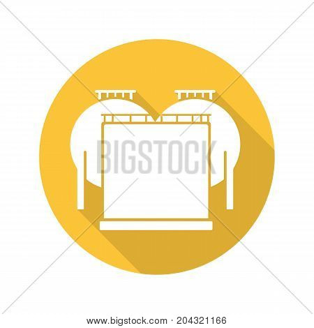 Oil tank flat design long shadow glyph icon. Gas and petrol industry storage. Vector silhouette illustration