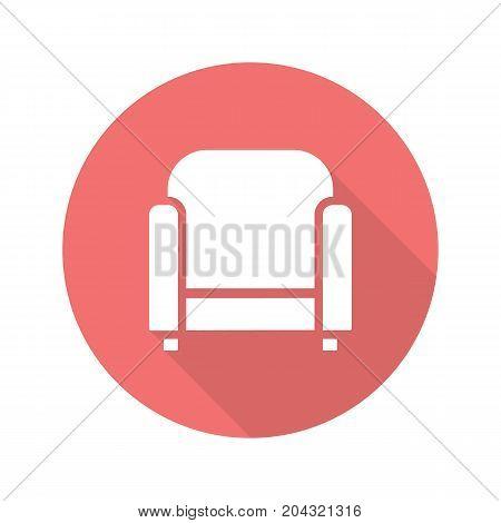 Armchair flat design long shadow glyph icon. Vector silhouette illustration
