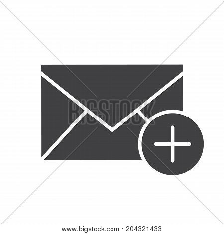 Add email glyph icon. Silhouette symbol. Email letter with plus. Negative space. Vector isolated illustration