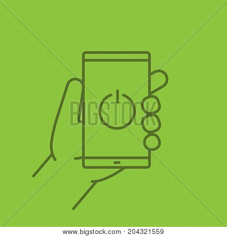Hand holding smartphone linear icon. Turn off smart phone. Thin line outline symbols on color background. Vector illustration