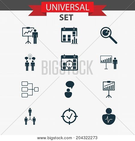 Management Icons Set. Collection Of Approved Target, Report Demonstration, Presentation Date And Other Elements
