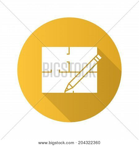 Floor plan flat design long shadow glyph icon. Flat blueprint. Vector silhouette illustration