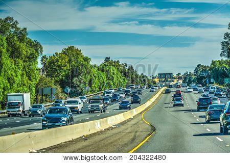 Traffic on Hollywod freeway Los Angeles. California USA