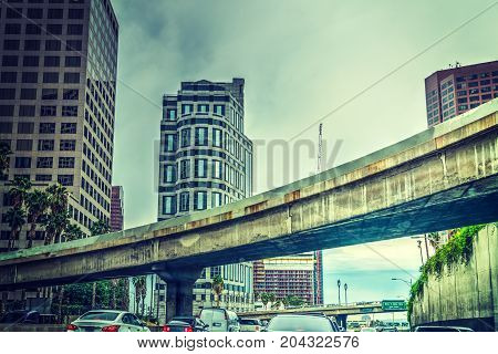 Overpass in downtown Los Angeles in California