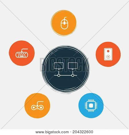 Hardware Icons Set. Collection Of Computer Keypad, Connected Devices, Audio Device And Other Elements