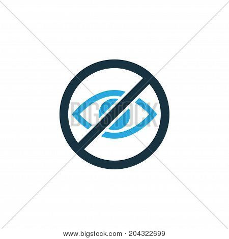 Premium Quality Isolated Prohibited Element In Trendy Style.  Lower Your Eyes Colorful Icon Symbol.