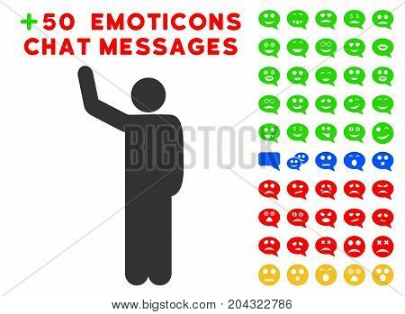 Hello Pose pictograph with colored bonus mood graphic icons. Vector illustration style is flat iconic symbols for web design, app user interfaces, messaging.